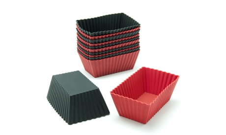 Freshware 12-Pack Silicone Rectangle Muffin Baking Cup, Red and Black a8736027-1608-4832-854e-acee3156947b