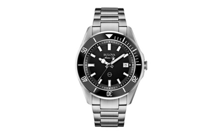 Men's Bulova Marine Star Analog Watch with Black Dial Stainless Steel Bracelet