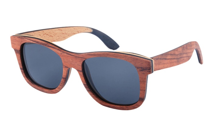 wood frame sunglasses polarized brown wood framegrey lens one size - Wood Framed Sunglasses