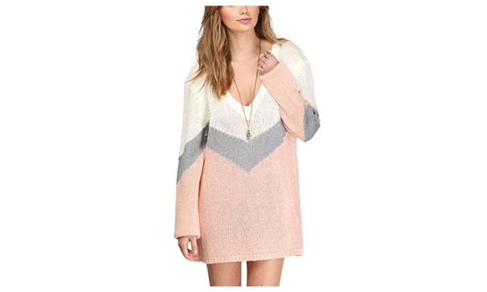 Summerwhisper Women's Contrast Color Deep V Pullover Sweater Dress Pink
