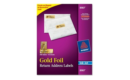 Avery Foil Mailing Labels, 3/4 x 2-1/4, 300/Pack, PK