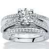 2.76 TCW Round Cubic Zirconia Platinum over Sterling Silver Bridal Set
