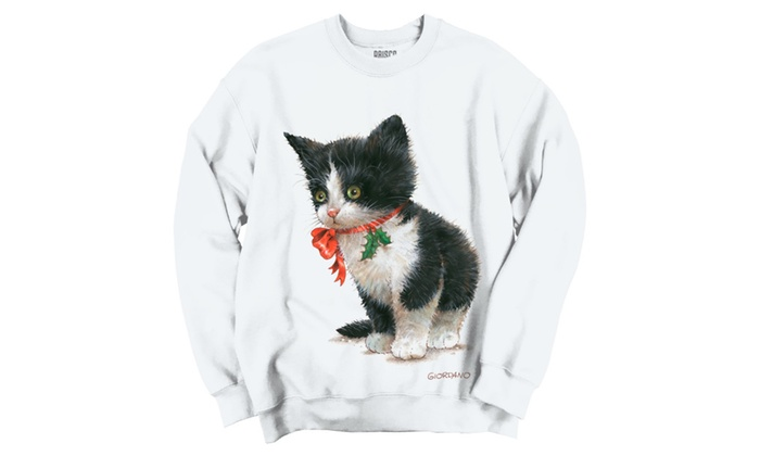 Cute Black/White Christmas Kitten Holly Crewneck Sweatshirt