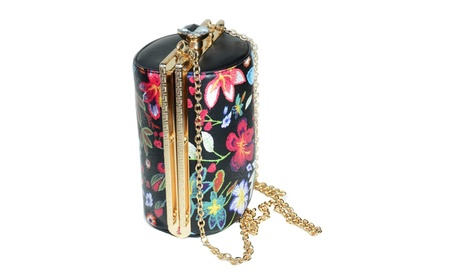 Unique Embroidered Floral Oval Pillbox Crossbody Purse w/ Strap (Goods Women's Fashion Accessories Handbags Cross-Body) photo