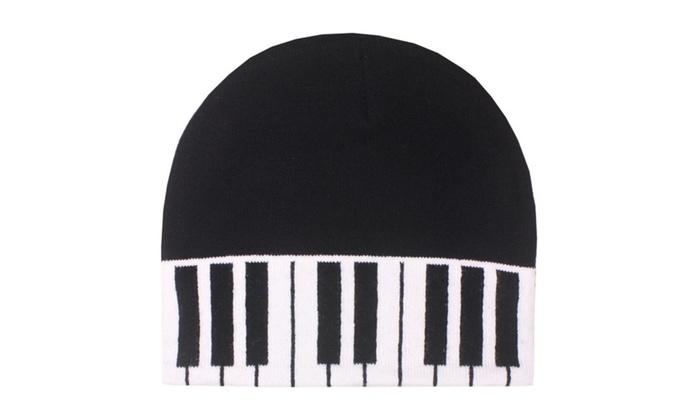 6c91f2e815a9b Black White Piano Keys Music Knit Beanie Stocking Cap Winter Hat Band
