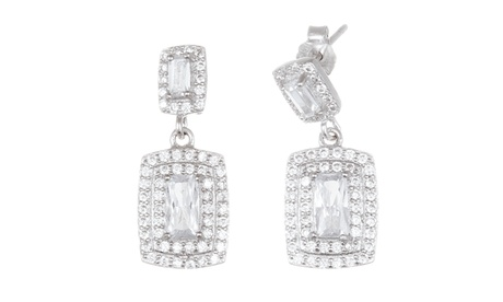 Sterling Silver CZ Rectangle Post Earring 40c7d1c0-e524-4705-bc64-8cae9f2ca474