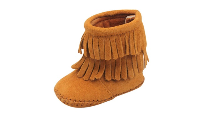 Baby Girl Double Fringe Suede Boot | Groupon
