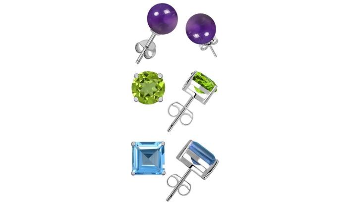 925 Sterling Silver Rhodium-plated Peridot Blue Topaz /& Amethyst Dangle Post Earring