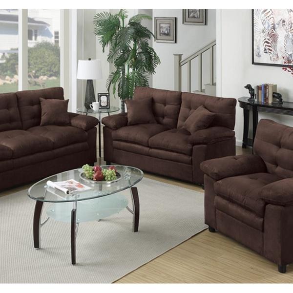 Foligno 3 Piece Living Room Set Upholstered In Microfiber