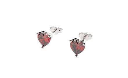 Sterling Silver Stud Earrings with Heart Cut Rubies