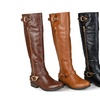 Journee Collection Womens Side-Zipper Buckle Riding Boots
