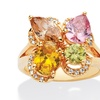 4.70 TCW Multicolor CZ Flower Motif Ring 18k Yellow Gold-Plated