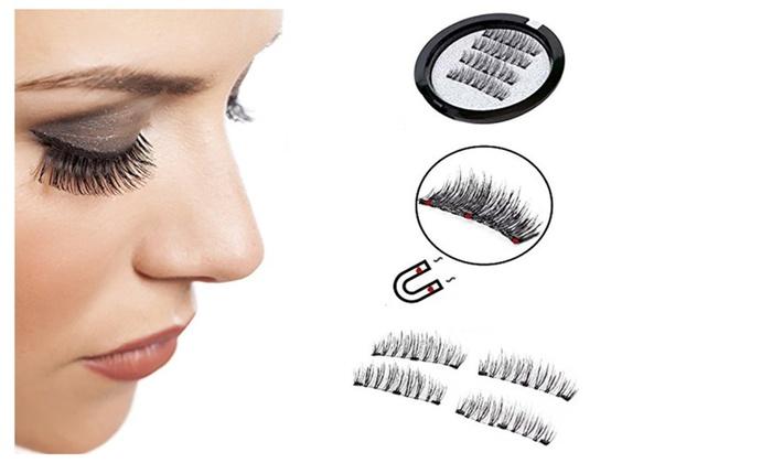4ff06a1e7a4 4Pcs/Set Magnetic False Eyelashes Triple Magenet 3D No Glue Reusable ...