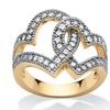 1.06 TCW Cubic Zirconia Interlocking Hearts Ring 14k Gold-Plated