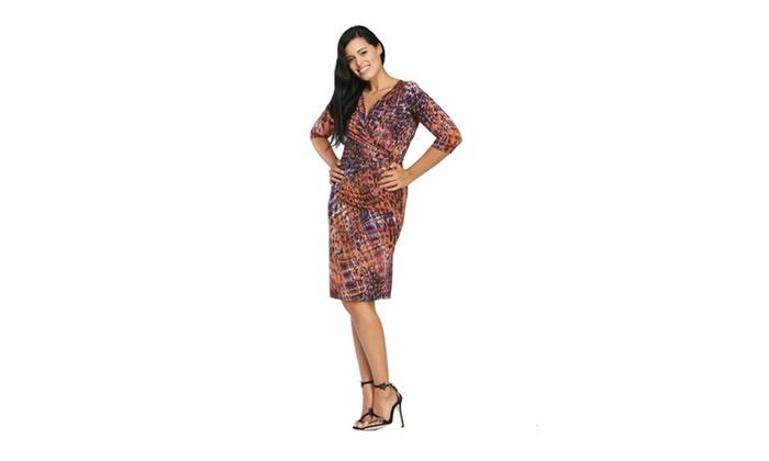 24/7 Comfort Apparel Women's Spotted Plaid Dress