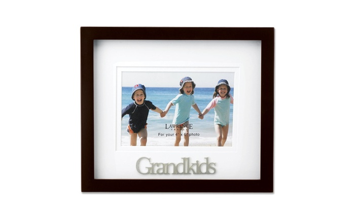 Walnut Wood 4x6 Grandkids Picture Frame - Matted Shadow Box | Groupon