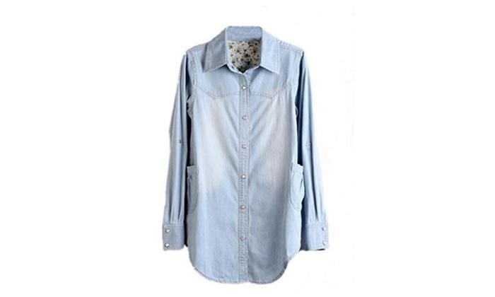 Women Casual Jean Denim Blouse Cardigan Top Blouse Shirt