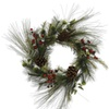 "24"" Mixed Red-Burg Berry and Pine Wreath"