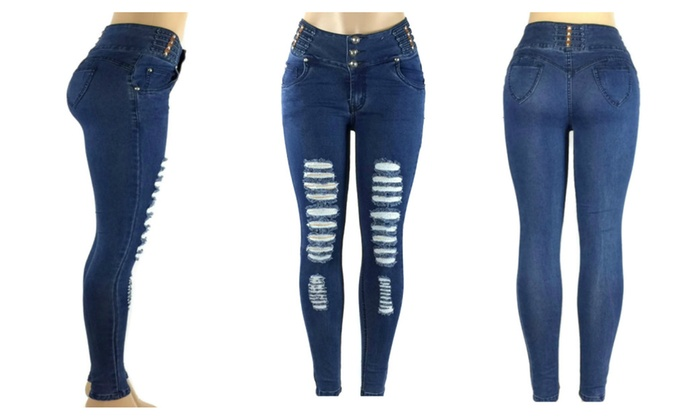 Butt Lift Skinny Jeans Ripped Levanta Cola Push Up