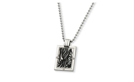 IceCarats Designer Jewelry Titanium Black Enamel and 1/20ct. Diamond 24in Necklace