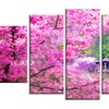 Japanese Cherry Flowers - Floral Glossy Metal Wall Art