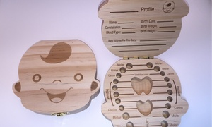 Tooth Fairy Wooden Box, Baby Keepsake Tooth Holder for Boy or Girl