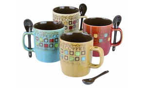 Nugen 13 Oz. Stoneware Coffee Mug and Spoon Set (8-Piece)