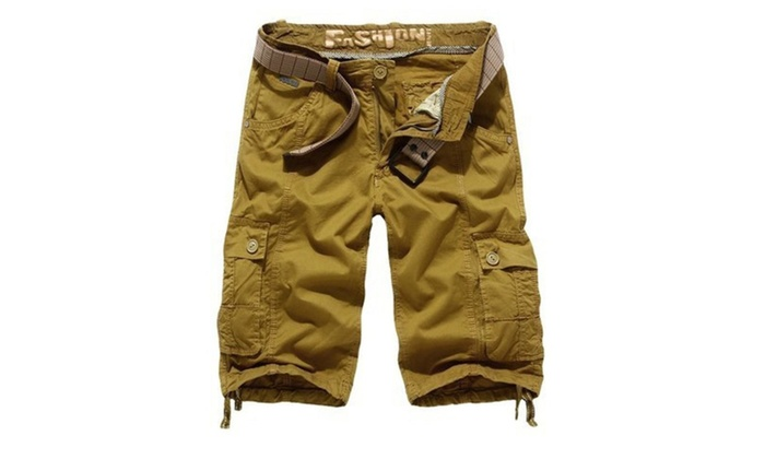 CitySky:  Men's Straight Type Buttons Front And Full Zip Cargo Shorts