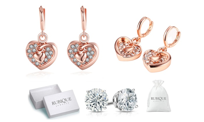 f67fa4a7483c3 Up To 80% Off on Rubique Jewelry Heart Earrings | Groupon Goods