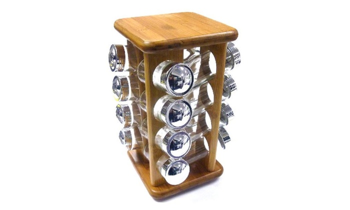 Buy It Now : 16pc Rotating Bamboo Spice Rack  w/ Plastic Chrome Lid