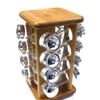 16pc Rotating Bamboo Spice Rack  w/ Plastic Chrome Lid