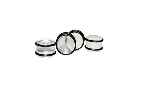 Large Gauge Clear/Glow Ear Plugs with O-Rings 2Pairs