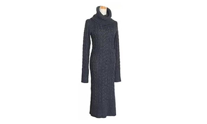 Womens Winter Long Slit Turtleneck Dress Knit Pullover Sweater
