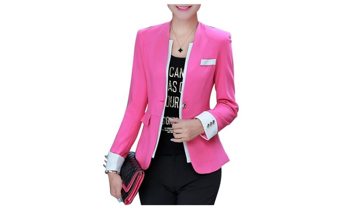 Women's Fashion Contrast Lapel Collar Open Front Blazer – Rose Red / S