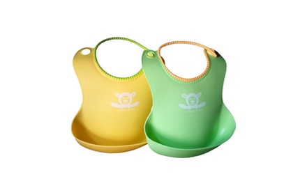 2 Pack Baby Bibs: Best Silicone, Waterproof, Food Catcher Pocket with Secure Snap Closure. Cute Unisex Colors for Boys or Girls.
