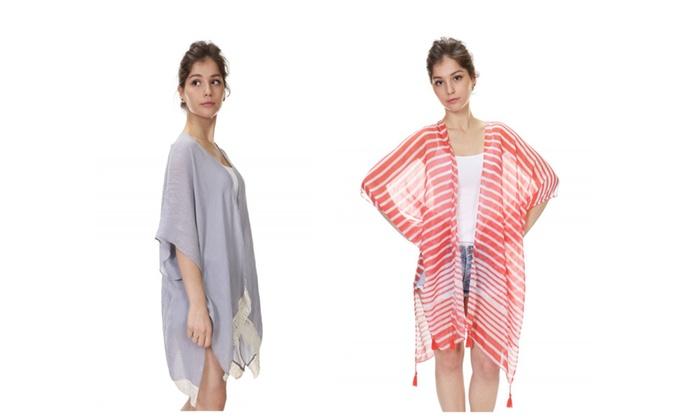 Unika7: Open-Front Kimono-Style Poncho – Assorted Styles