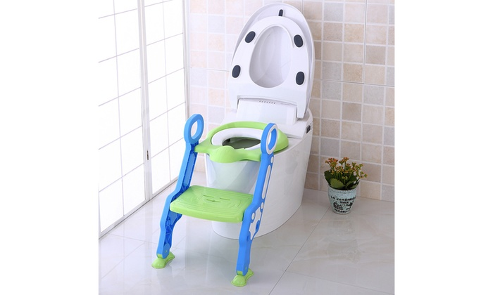 Baby Toilet Seat Folding Children Potty Chair Trainer with Adjustable Ladder