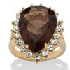 Pear-Cut Simulated Smoky Quartz Cocktail Ring 14k Gold-Plated