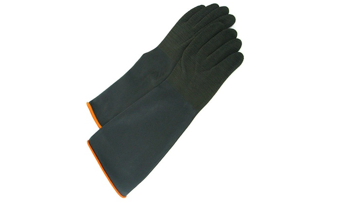 Heavy Black Rubber Crinkle Gloves