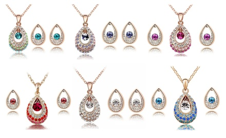 KATGI Fashion Austrian Crystal Angel Teardrop Pendant Necklace & Earrings (Set of 2)