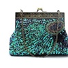 Antique Beaded Bags Sequin Clutch Evening Handbag Purse Peacock Blue
