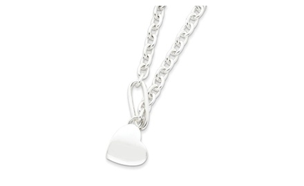 IceCarats Designer Jewelry Sterling Silver Heart Fancy Link Necklace In 16 Inch