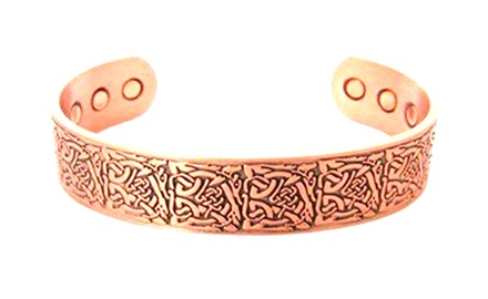 Celtic Vine Knot Antique Copper Men's Magnetic Therapy Cuff 2000 Gauss Each Magnet