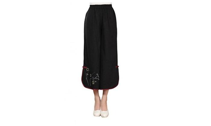 JTC Women's Loose Casual Pants Flower Printed Black