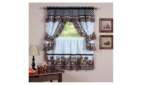 """Mason Jar Kitchen Curtain Cottage Set 36""""x57""""- Multi Clor 68ccbb79-1420-4a72-8105-2318d602a340"""