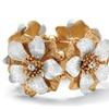 Flower Stretch Bracelet Silvertone and Gold Tone