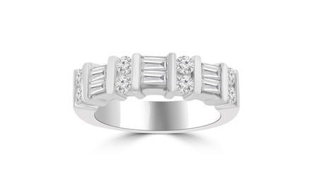 1.50 ct Baguette and Round Cut Diamond Wedding Band Ring