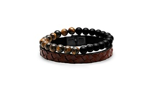 Men's Set Of 2 Beaded And Leather Bracelets