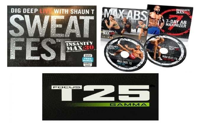 Insanity Max:30 Max Abs & Sweat Fest + Focus T25 Gamma