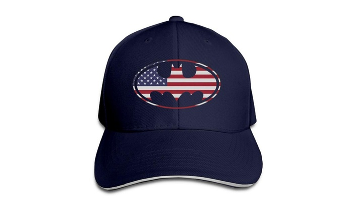 Unisex Batman American Flag Oval Printed Baseball Cap Hats Navy